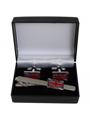 Gents Silver Tie Clip and Cufflinks set - Union Jack