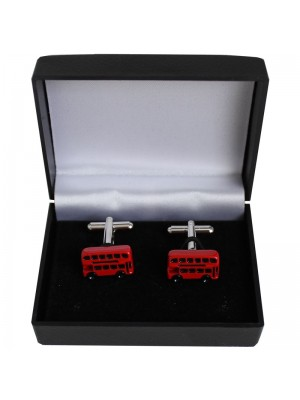 Gents Silver Cufflinks - London Bus Design
