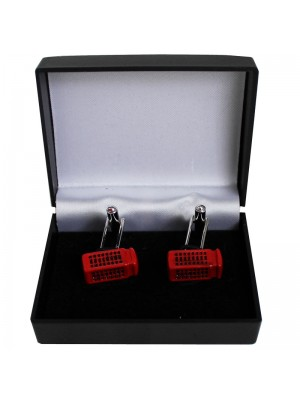 Gents Silver Cufflinks - London Telephone Box