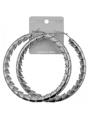 Silver Leaf Pattern Hoop Earrings - 8.5cm