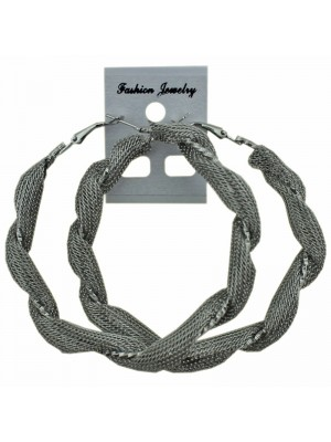 Silver Twist Design Hoop Earrings - 7cm