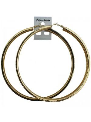 Gold Large Hole Design Hoop Earrings - 12cm