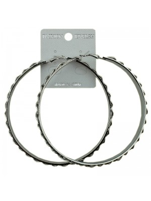 Silver Chain Pattern Hoop Earrings - 8.5cm