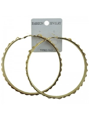 Gold Chain Pattern Hoop Earrings - 8.5cm