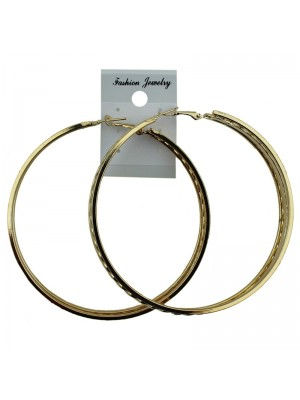 Gold Pattern Hoop Earrings - 7.5cm