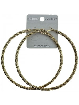 Gold Double Twist Pattern Hoop Earrings - 9cm