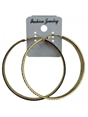 Gold Diamante Design Hoop Earrings - 6.5cm