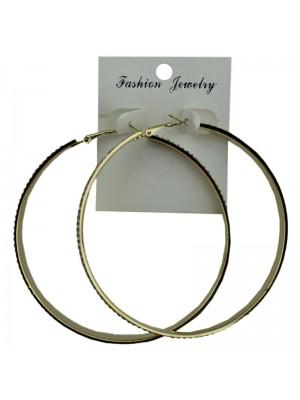 Gold Diamante Pattern Hoop Earrings - 7.5cm