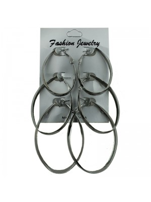 Silver Oval Hoop Earrings - Assorted Sizes