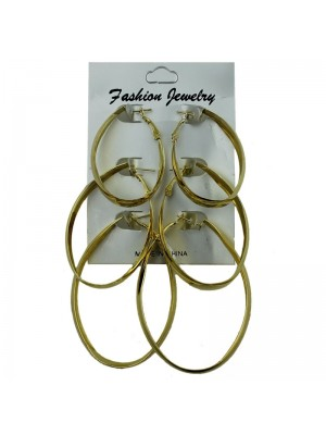 Gold Oval Hoop Earrings - Assorted Sizes