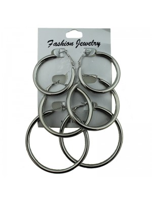 Silver Round Hoop Earrings - Assorted Sizes