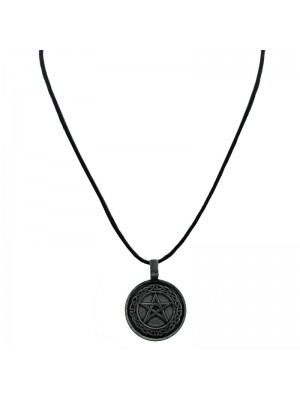 Corded Pendant Necklace - Embossed Pentagram