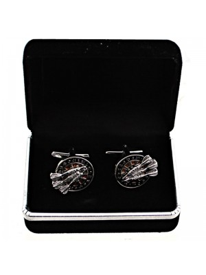 Gents Silver Cufflinks - Dartboard