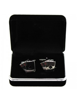 Gents Silver Cufflinks - Playing Cards