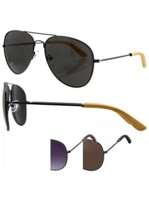Unisex Double Bridge Sunglasses (Wooden Temple Tips) - Assorted Colours
