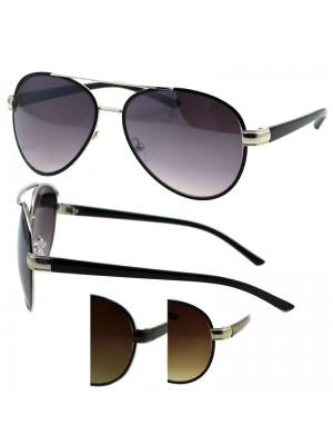Unisex Double Bridge Aviator Sunglasses - Assorted Colours
