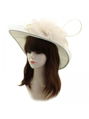Ladies' Occasion Hat With Flower And Netting - Cream