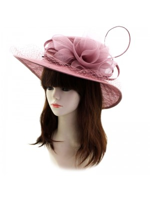 Ladies' Occasion Hat With Flower And Netting - Light Purple