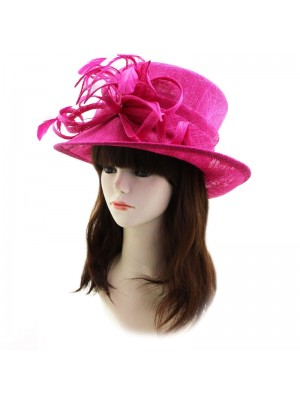 Ladies' Occasion Hat With Sinamay Petals And Feathers - Deep Pink