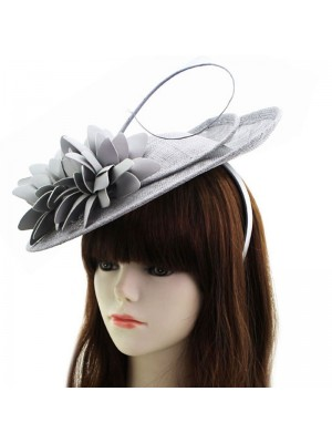 Sinamay Disc Fascinator With Loops And Flower On Aliceband - Grey