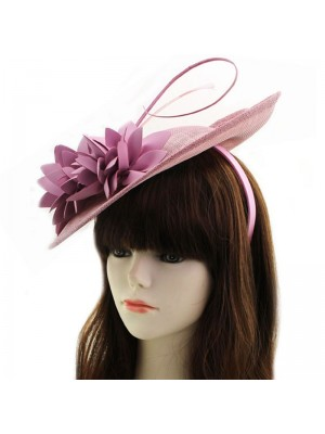 Sinamay Disc Fascinator With Loops And Flower On Aliceband- Light Pink