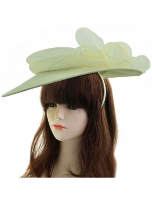 Sinamay Disc Fascinator With Bow Detail on Aliceband - Cream