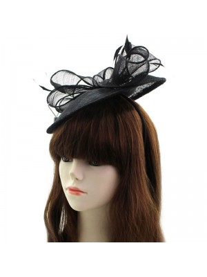 Sinamay Disc Fascinator With Bow on Aliceband - Black