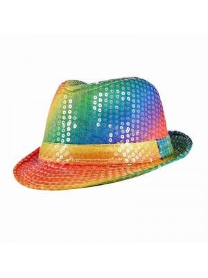 Sequin Pride Rainbow Trilby Hat