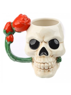 Skull Shaped Mug with Red Rose Handle