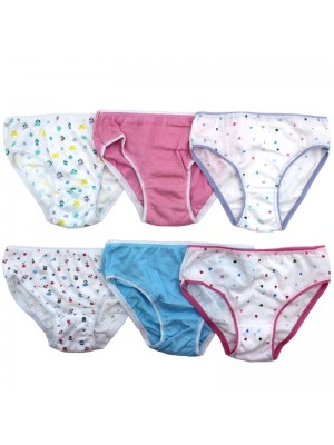 Girls Cotton Briefs - Assorted Colours & Sizes