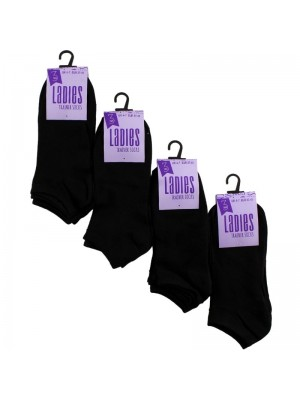 Wholesale Ladies Black Trainer Socks (3 Pair Pack)