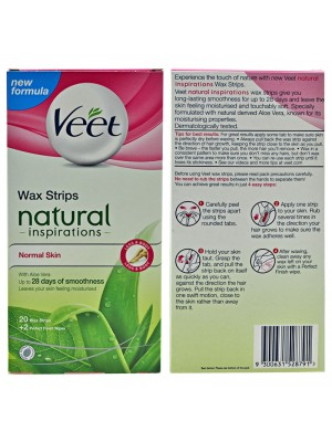 Veet Wax Strips Natural Inspirations with Aloe Vera (Normal Skin)