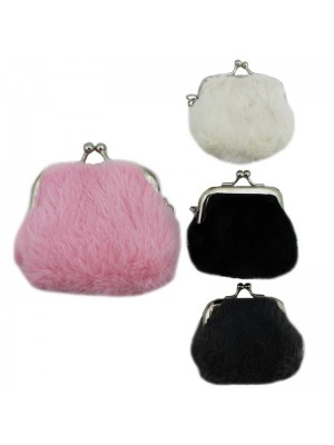 Fluffy Keyring Coin Purse - Assorted Colours