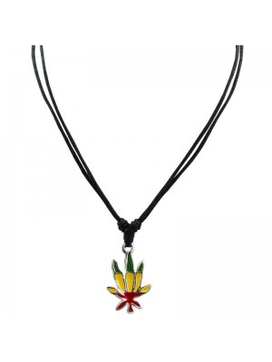 Corded Pendant - Ganja Leaf (Rasta Colours)