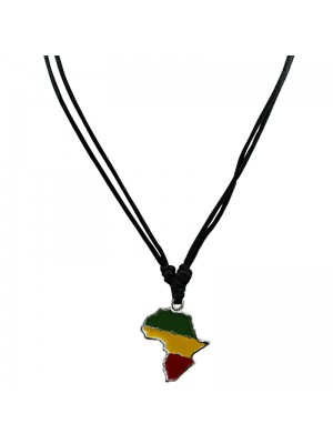 Corded Pendant - Map (Rasta Colours)