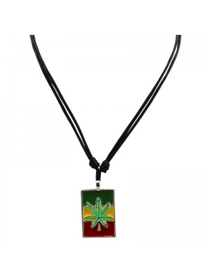 Corded Pendant - Cannabis Leaf in Rectangle (Rasta Colours)