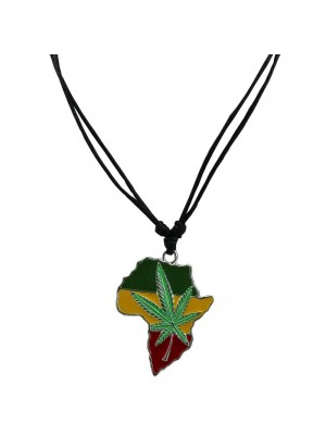 Corded Pendant - Map with Cannabis Leaf Design (Rasta Colours)