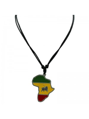 Corded Pendant - Map with Lion of Judah (Rasta Colours)