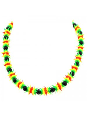 Spiky Silicone Rubber Bead Necklace (Rasta Colours)
