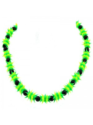 Spiky Silicone Rubber Bead Necklace (Jamaica Colours)