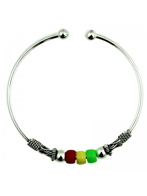 less Steel Adjustable Cuff Bangle (Rasta Colours)