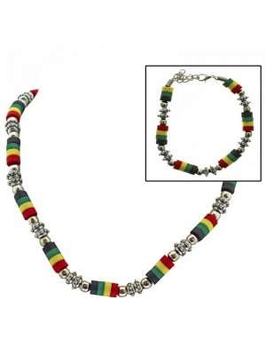 Rasta Themed Necklace and Bracelet Set
