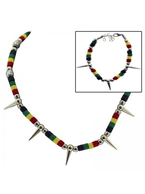 Rasta Themed Spiky Necklace and Bracelet Set