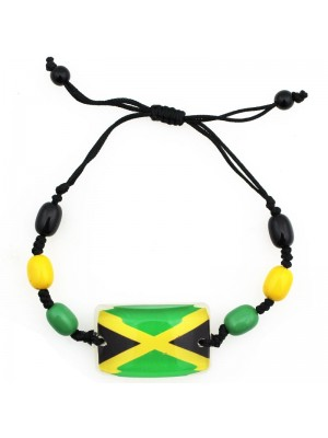 Jamaican Flag Adjustable Bead Bracelet