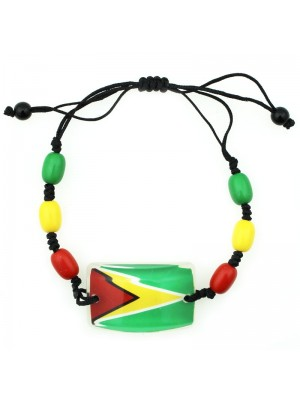 Guyana Flag Adjustable Bead Bracelet