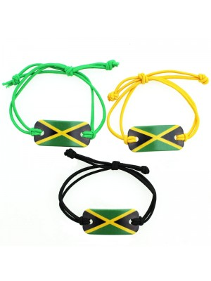 Jamaican Flag Adjustable Bracelet (Assorted Colours)