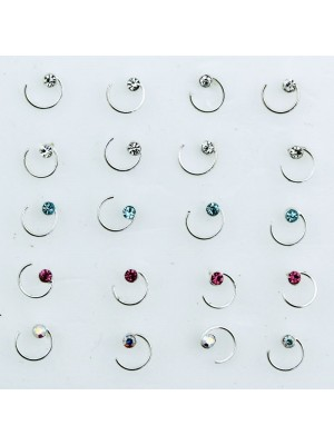 Sterling Silver Swirl Diamante Nose Pins - Assorted Colours (5cm)