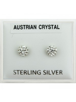 Sterling Silver Austrian Crystal Round Studs - 3mm