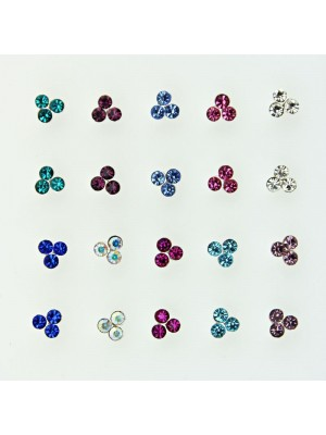 Sterling Silver 3 Flower Design Nose Wires - Assorted Colours (3mm)