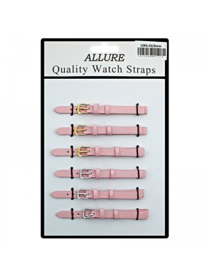 Allure Plain Leather Watch Straps - Pink - 8mm Wholesale